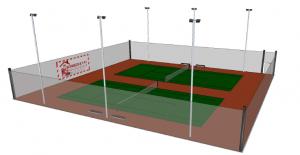 Terrain de tennis avec éclairage
