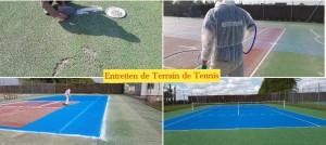Régénération de terrain de tennis