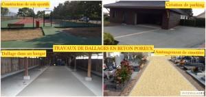 Divers travaux de dallage en béton poreux ( aménagement de cimetière, parking, site agricole ou industrielle ...